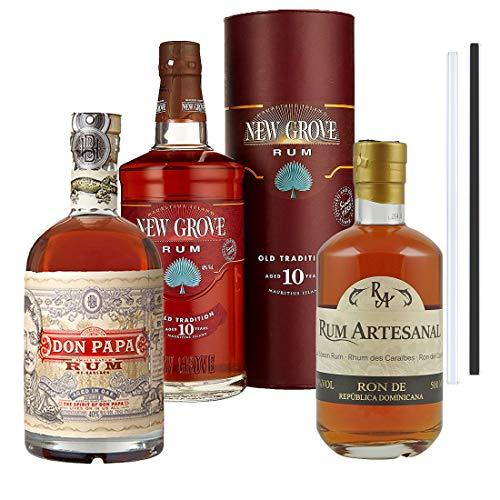 Don Papa Rum, New Grove Rum, RA Ron de Republica Dominicana Rum - 3er Rum Set   Rum aus Philipines, Mauritius, Dom.-Rep, inkl. 2 Glasdrinkhalme
