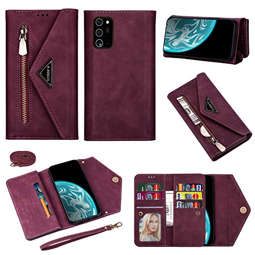 Crossbody Wallet Case for Galaxy Note 20 Ultra Zipper Wallet Case[PU Leather] [7 Card Solt] [Wrist Strap] with Shoulder strap Kickstand Phone Case for Samsung Note 20 Ultra 6.9
