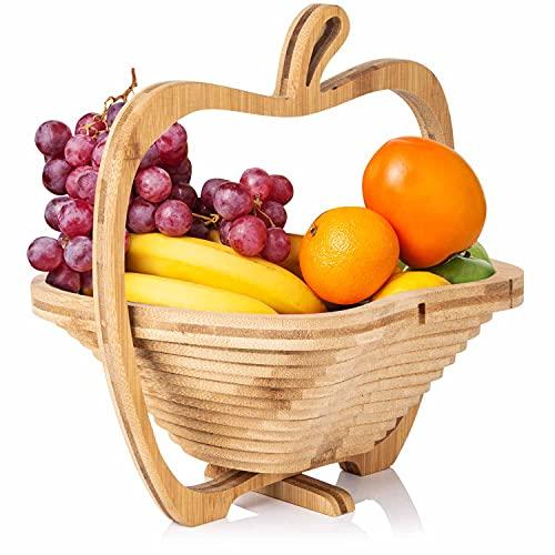 Dimono® Bamboo Bamboo Folding Fruit Basket, Fruit Bowl, Vegetable Bowl and Trivet Folding Basket & Cutting Board, 3 in 1 in beautiful apple design