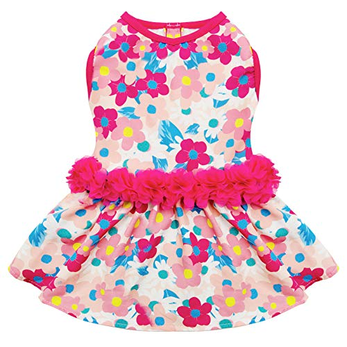 kyeese Hundekleider Floral mit Blumen Dekor Eelgant Prinzessin Hundekleid für kleine Hunde Frühling Sommer Hundebekleidung
