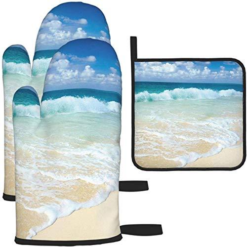 MODORSAN Playa con Olas espumosas en la Orilla del mar vacía Tema navideño Serene Coastal Oven Mitt & Pot Holder Set 100% poliéster