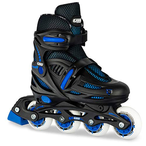 Crazy Skates Adjustable Inline Skates for Girls -Adjust to fit 4 Sizes - Black with Red (Small - Sizes Jr11-1)