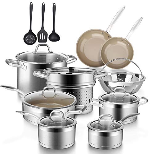 Duxtop 17PC Professional Stainless Steel Induction Cookware Set, Stainless Steel Ceramic Nonstick Pan Set, Impact-bonded Technology