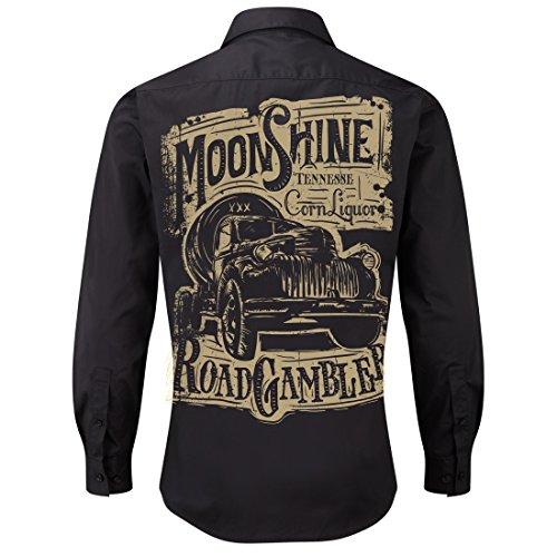 Worker Shirt, Langarm Hemd, Rock'n'Roll, Pick Up, Schnaps, Moonshine