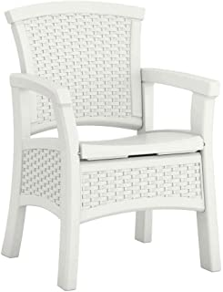 Suncast Elements Durable Resin Outdoor Patio Dining Chair with Storage, White (2 Pack)