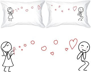 BoldLoft from My Heart to Yours Too Couple Pillowcases-Couples Gifts for Anniversary Boyfriend Husband Fiance Wedding Engagement Valentines Day Long Distance Relationships Thinking of You Dating