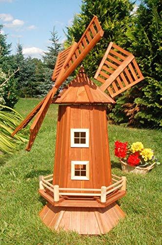 Deko-Shop-Hannusch Garten-Windmühle aus Holz - Höhe 1,15 Meter, Solarbeleuchtung:ohne Solarbeleuchtung