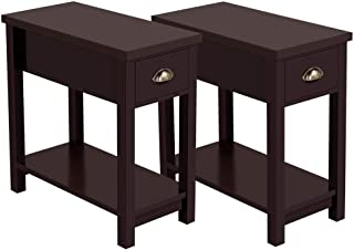 Yaheetech Chairside End Table Narrow Nightstand - One Drawer Storage Cabinet Bedside Table with Solid Pine Wood Legs and Waterproof Surface, Set of 2, Espresso