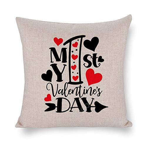 Yilooom Fundas de cojín cuadradas de lino de algodón de 45,7 x 45,7 cm, fundas de cojín, cama, sofá, sofá, coche, decoración del hogar, Feliz día de San Valentín, mi primer día de San Valentín