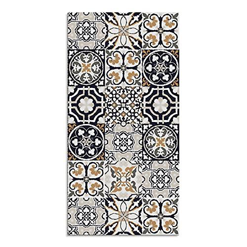 Alfombra Vinílica para Cocina, 100 x 50 cm, Diseño de Baldosas, Color Marrón, ALV-006