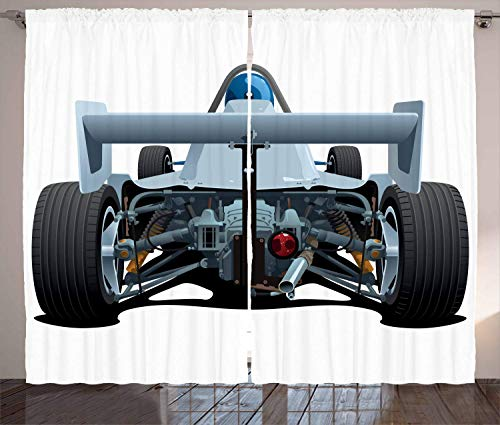 MSGDF Cars Curtains, Back View of a Formula Race Car Rally Competition Sports Cartoon Style, Living Room Bedroom Window Drapes 2 Panel Set, Bluegrey White,Size:110' W X 90'L