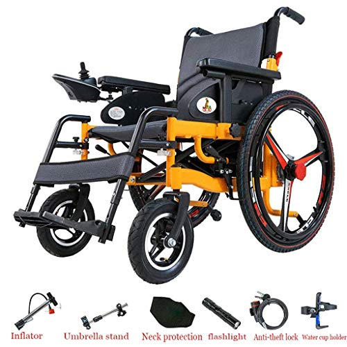L.TSA Faltbarer Rollstuhl, Elektroantrieb mit Elektroantrieb oder Verwendung als manueller Rollstuhl für Behinderte und ältere Menschen (12A-Lithiumbatterie)