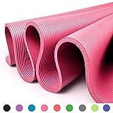 Glamexx24 Tappetino Spesso e Morbido per Il Fitness, Pilates, Ginnastica e Yoga 183x61x1 cm Nero