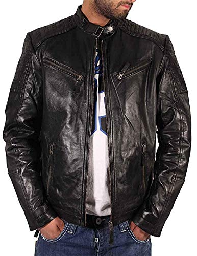 Aviatrix Hombre Niño Negro Motero Cruz Cremallera Estilo Retro chaqueta de piel auténtica CL99