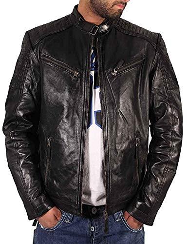 Aviatrix Hombre Niño Negro Motero Cruz Cremallera Estilo Retro chaqueta de piel auténtica CL99 - Negro, Chica