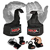 MRX Power Weight Lifting Straps Wrist Support Heavyduty Gym Training Bandage Cordura Hook Deadlifting Wraps Black
