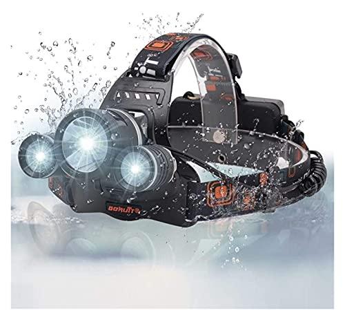 Cabeza de cabeza de cabeza de cabeza recargable Headtorch Super brillante 5000 lumens LED Flash Light 2 * R2 + 1 * L2 LED Beads 4 Modos Faro para hombres trabajando en marcha Camping Senderismo exteri