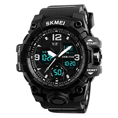 Analog Digital Watch for Men, Waterproof Military Watch with Dual Display Alarm Stopwatch Calendar EL Backlight Sports Wrist Watch for Men (Black)