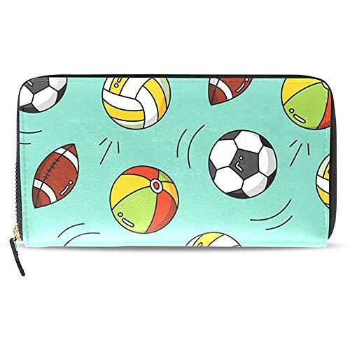 Leder Zip Around Kartenhalter Handtasche Clutch Bag Sport Fußball Fußball Rugby Geldbörse, Weiches Leder Zip Around Kartenhalter Große Reisetasche Clutch Bag