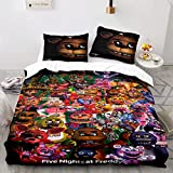 Kiusad Five Nights at Freddy's Bedding Sets Full Size FNAF Game Theme Comforter Cover Bed Set for a Full Bed 3 Pieces Bedding (1 Duvet Cover and 2 Pillowshams)