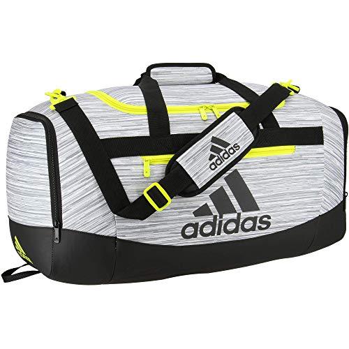 Adidas Defender 4 - Borsone da viaggio medio Looper bianco/nero/giallo acido, taglia unica