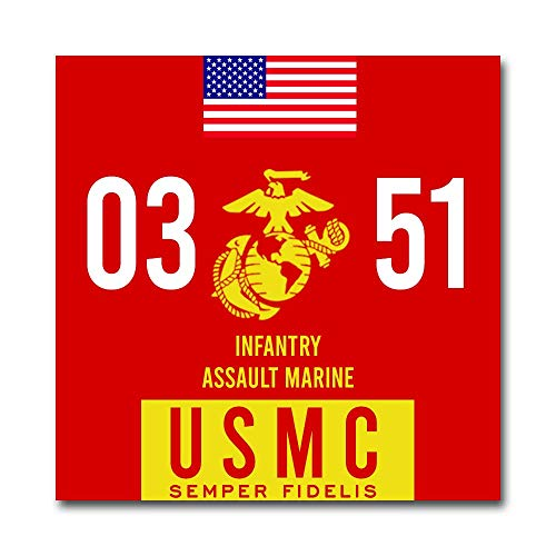 USMC 0351 Infantry Assault Marine Corps MOS Red Gold 5.5 Inch Vinyl Military Decal