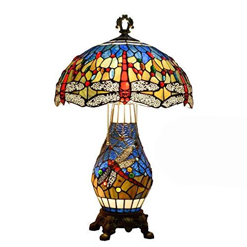 Lámpara de Mesa con Diseño de Libélula para Interiores,Lámparas de Noche con Pantalla de Vidrio Multicolor de 16 Pulgadas,Lámpara de Escritorio con Decoración de Perlas de Cristal de 3 Luces Y Caden