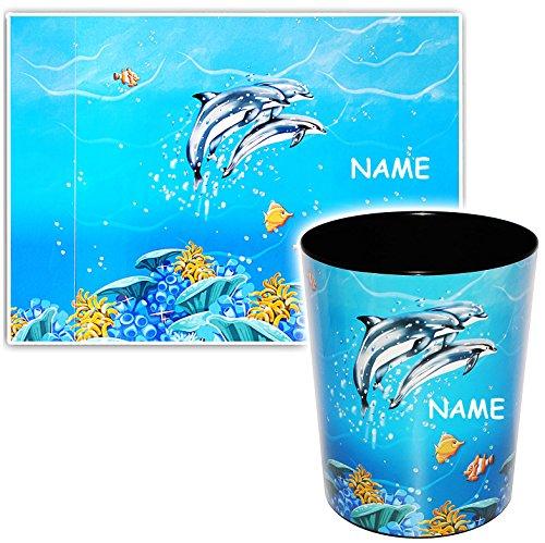 2 TLG. Set _ Schreibtischunterlage & Papierkorb -  Delfine & Fische - Unterwasserwelt  - incl. Name - Schreibtischset - aus Kunststoff - Mülleimer / Eimer -..