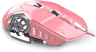 MINHUISHANGMAO Mouse, fashion girl wired computer mouse, pink girl gaming mouse, wired computer desk mechanical metal back...