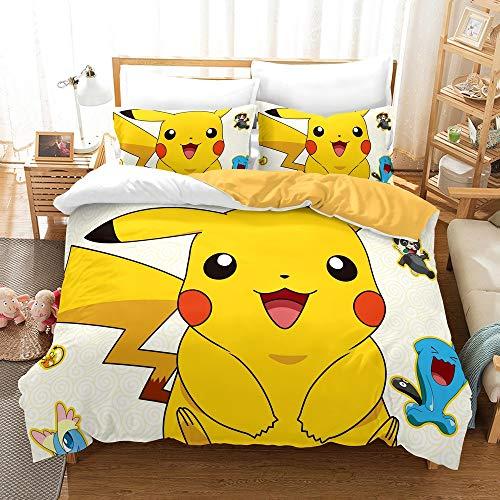 Pokemon funda nórdica 3D Anime Pikachu juego de cama para niños 3 piezas incluyen 1 funda nórdica y 2 fundas de almohada (P02, King 220 x 240 cm)