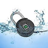 FUERS Candado de huella dactilar con Bluetooth IP67 impermeable, candado sin llave, candado para equipaje, protección de huellas dactilares contra robos