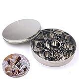 Set Di 24 Stampi Per Biscotti In Acciaio INOX 8 Modelli In 3 Dimensioni(Cuore Fiore Stella Cerchio Quadrato Rettangolo Triangolo Ovale)