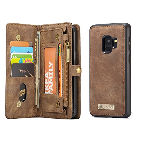 MOONORN Samsung Galaxy S9 Plus Wallet Case - Detachable Leather Phone Wallet Magnetic Flip Case Shockproof Cell Phone Case with Credit Card Slots (Brown)