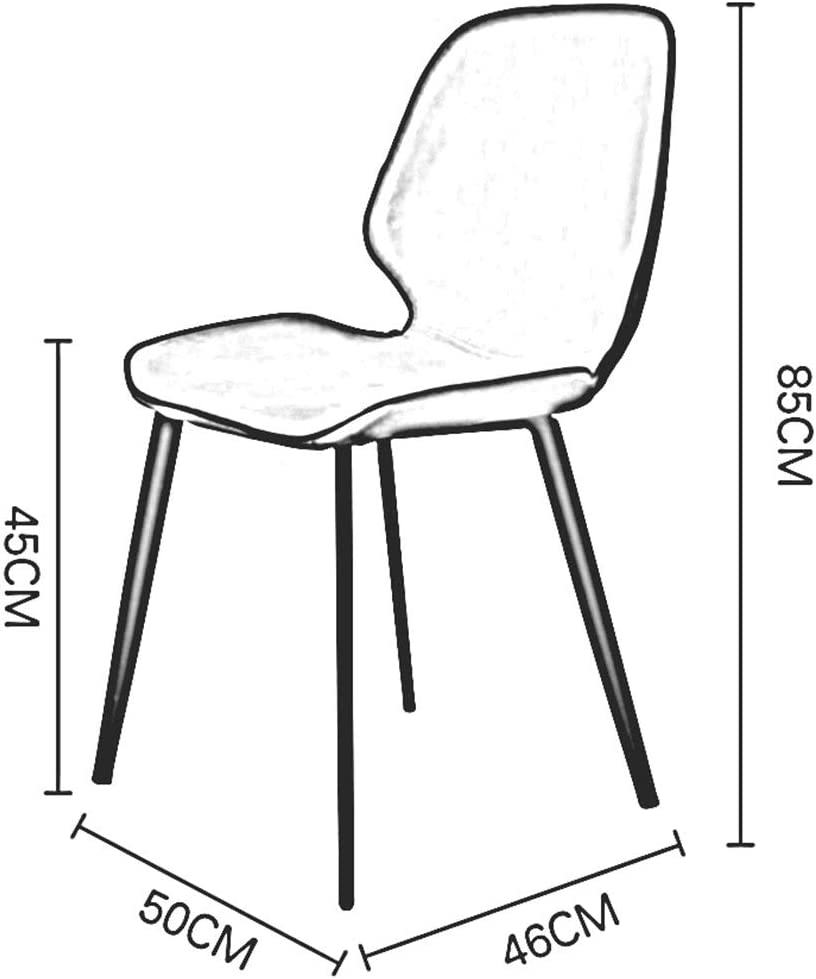 DALL Chaise De Salle à Manger Rétro,Coussin PU,Chaise De Table De Jambes en Métal,Chaise De Réception De Loisirs avec Dossier,50 × 46 × 85 Cm(Color:T3) T5