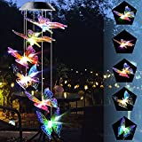 Kweiugfi Solar Butterfly Wind Chimes for Outside,Automatic Light Changing Color, Mobile Hanging Wind Chimefor Garden, Patio, Yard, Home(Purple Yellow Butterfly)
