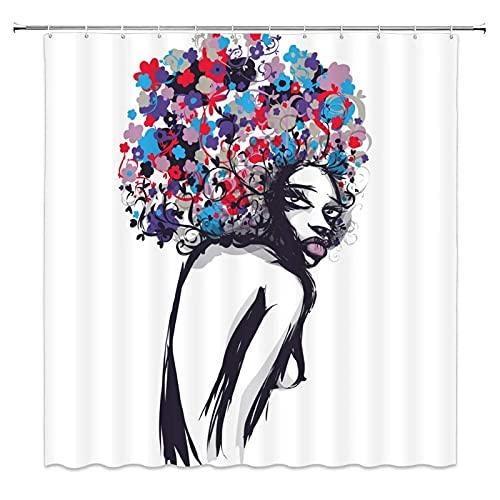 MZYZSL Cortina de Ducha Chica Negra Africana con Labios Atractivos Cabello Afro Colorido Azul Púrpura Rojo Gris Cortina de baño Cortinas de Ducha en la Cocina del hogar-180x180cm