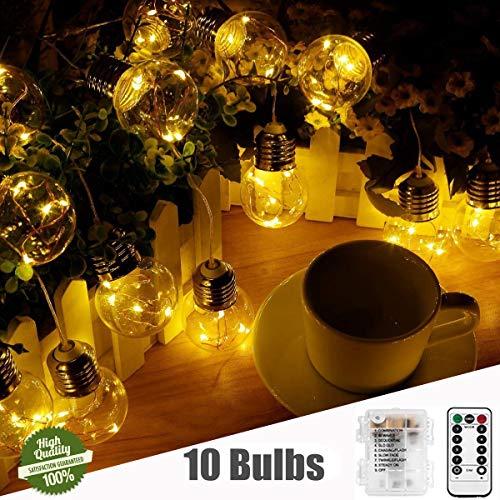 Guirlande Lumineuse Ampoules, Morbuy Piles LED Fée Chaîne Lumière 3.3m/ 10 Boules G45 8 Modes Télécommande Etanche Lumière Intérieur et Extérieur pour Noël Mariage Chambre Maison Jardin
