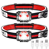 Rechargeable Headlamp 2pack,500lm White Cree LED headlamp with Red light,IPX6 Waterproof,40cm Motion Sensor,Lightweight Running Headlight for Running,Camping,Fishing,Hunting