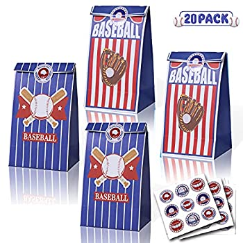 Baseball Gift Bags Premium Baseball Party Treat Bags Goodies Bag with Stickers for Baseball Party Favors Supplies Decorations,Kids Adults Sports Theme Birthday Party,MLB Game Celebration 20 Pack