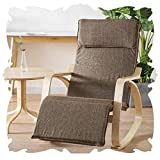 Chair Indoor Lounge Outdoor Garden Relax Rocking Chair High Back Armchairs Nursery Balcony Rocking Seat W/Headrest Glider Sling Chair (Color : Brown, Size : 94x66x95cm)