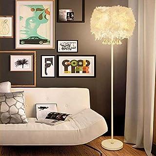 Lampadaire Salon Lumières de salle Lumineuses Tapis roulant Cristal Lampadaire Plumes blanches Éclairage décoratif étude L...