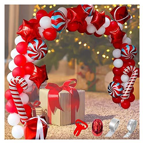 JSJJAER Globos de cumpleaños 142pcs Globo Guirnalda Arco Kit de Arco Navidad Rojo Blanco Caramelo Estrella Globos Caja de Regalo Globos para la decoración de la Fiesta de Navidad Esenciales de Fiesta