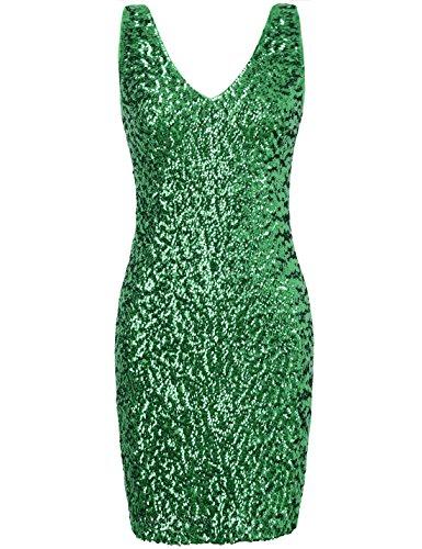 PrettyGuide Women Sexy Deep V Neck Sequin Glitter Bodycon Stretchy Mini Party Dress L Green