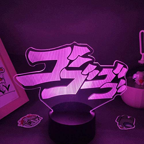 BTEVX 3D Illusion Light led Night Light JoJo s Weird Adventure - lamp with Logo Manga USB Birthday Gift for The Room of Friends Table lamp Decoration