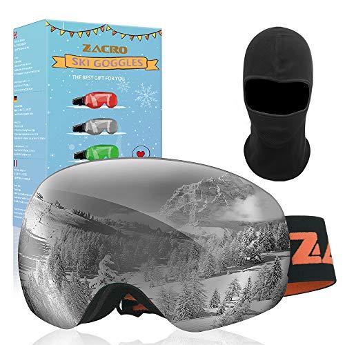 Zacro Maschera da Sci, Occhiali da Sci Ski Snowboard Antivento Anti Fog UV 400 Protezione Occhiali OTG a Doppia Lente per Sci, Snowboard, Motoslitta, Antiappannamento (Grigio)