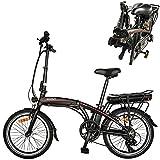 Bicicleta electrica Plegable Velocidad máxima 25 km/h Bicicletas eléctricas de montaña Plegable, Potencia Motor 36V 250W Bicicleta electrica montaña Capacidad de Carga 120 KG Negro