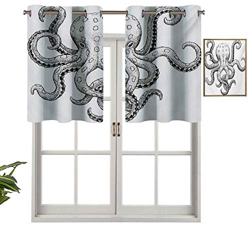 Hiiiman Short Straight Drape Valance Sketch Style Print of Deadly Blue Ringed Octopus Camouflage Marine Animal Aquatic, Set of 1, 36'x18' for Windows Kitchen