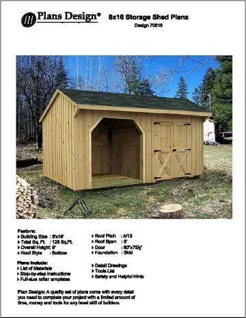 8' X 16' Firewood Storage Shed Project Plans -Design #70816 by Plans Design