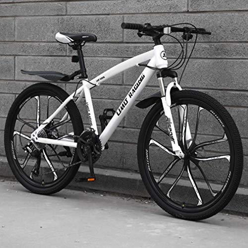 AISHFP Mountain Bike per Adulti, Bicicletta da Spiaggia, Bici da Neve Fuoristrada con Doppio Freno a Disco, Ruote Integrate in Lega di magnesio da 26 Pollici Dieci coltelli,Bianca,27 Speed