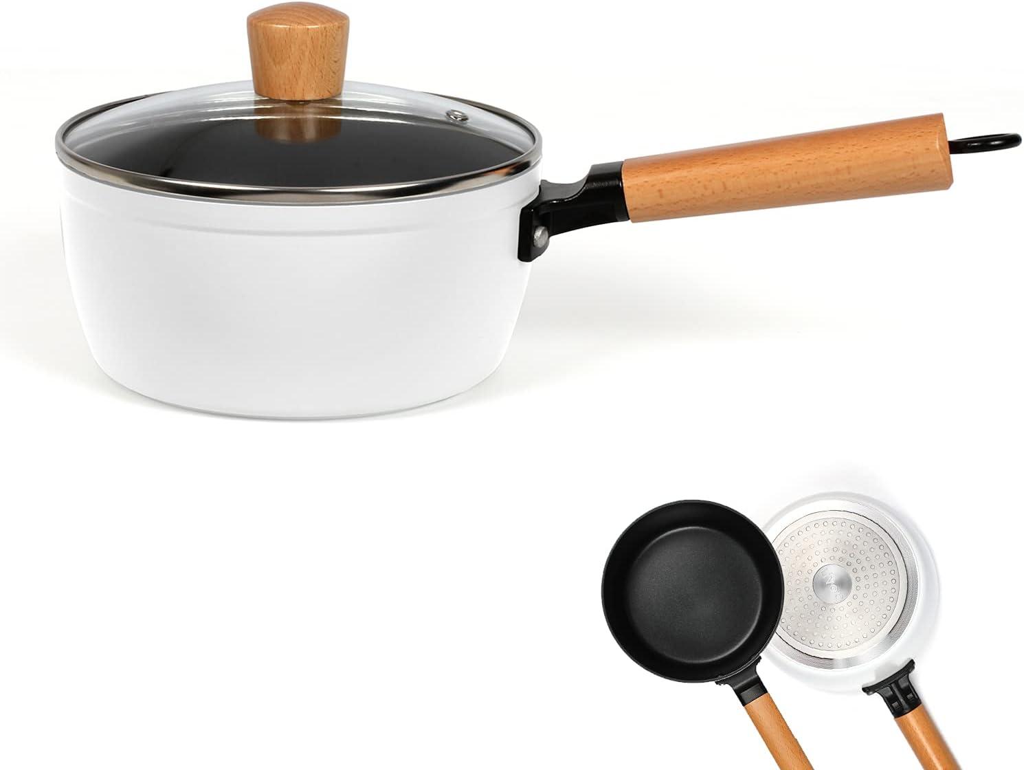 Cazo con tapa de inducción – Cazo pequeño de 18 cm con mango de madera – Cacerola revestida con mango apto para inducción – Cazo de leche con tapa de cristal – Cazo en color blanco